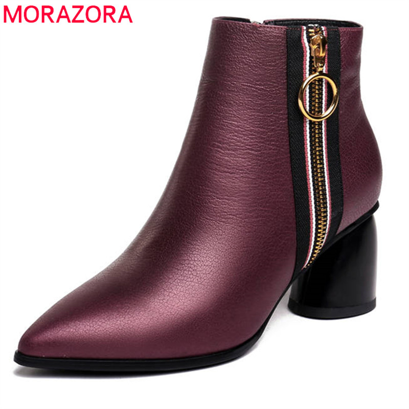 MORAZORA 2018 genuine leather winter boots fashion zipper solid colors high heels shoes woman pointed toe ankle boots for women бензокоса oleo mac sparta 25 eco aluminium 6103 9109e1al page 6