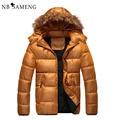 2016 New Winter Padded Jacket Men Fur Hood Coat Brand Man Clothes Men's Parka Masculino 4 Colors M-3XL NSWT124