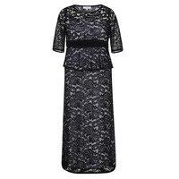 Plus Size Lace Dress Women Summer Elegant Round Neck Hollow Out Dress Lady Patchwork Party Big
