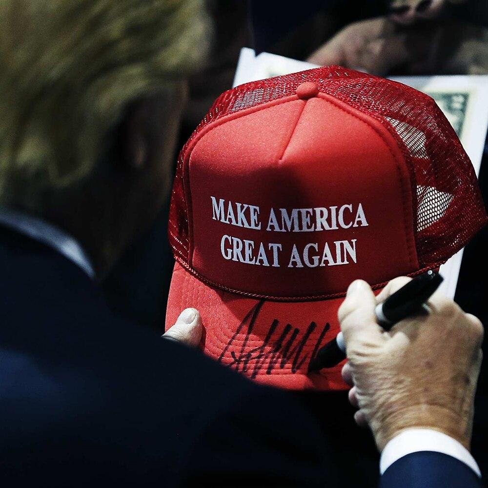 cede8dc6428 Mesh Summer MAKE AMERICA GREAT AGAIN Print Trucker Caps Donald Trump Men  Women High Quality Flat