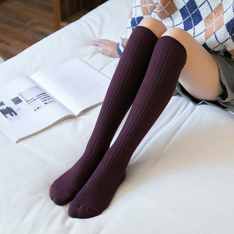 Image 4 - Autumn Winter Stockings Women Warm Cashmere Elasticity Knee High Stockings Black Blue Purple Gray Wine Red ColorStockings   -