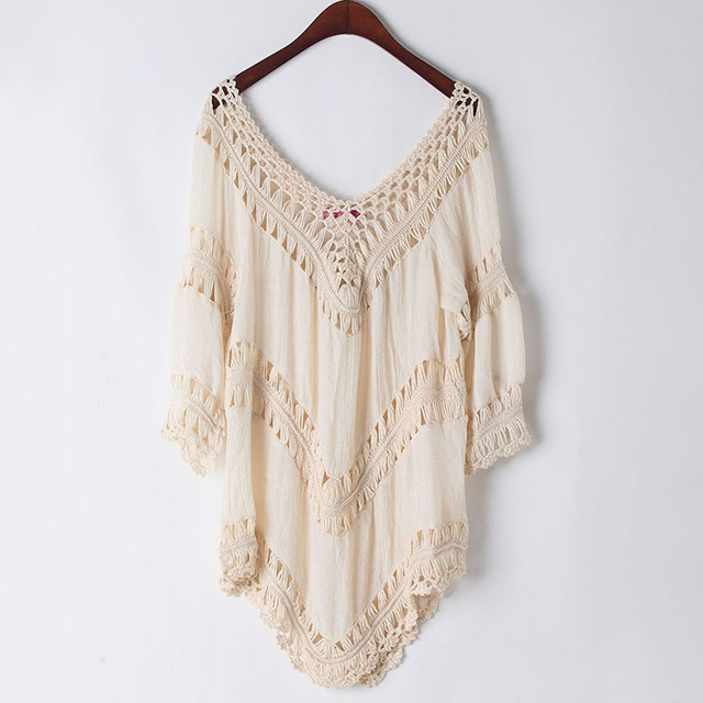 1ebfeca852f Crochet Boho Beach Knitted Top Cover-Up Swimsuit Tunic Hollow Out Pullovers  Summer Loose Top Back Off Casual