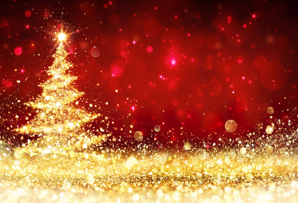 Kate Christmas Background Photography Backdrops Red Gold Bright - christmas background image