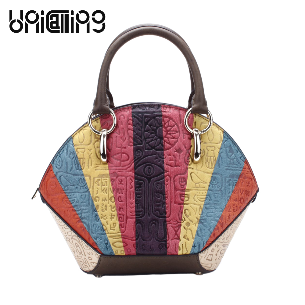 UniCalling fashion women bag patchwork colorful shell shape genuine leather female shell bag hieroglyphic embossing 3 SizesUniCalling fashion women bag patchwork colorful shell shape genuine leather female shell bag hieroglyphic embossing 3 Sizes