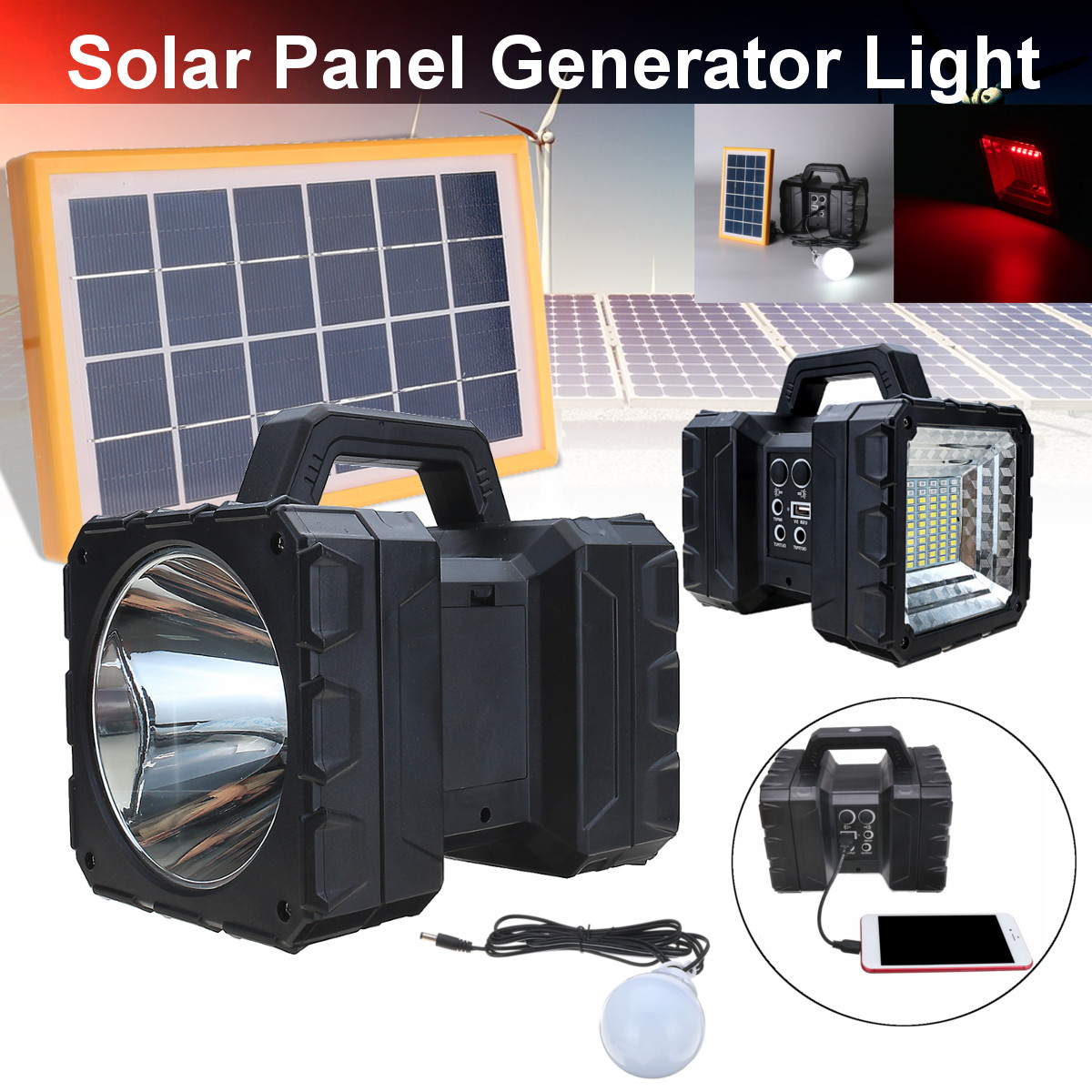 110V-220V Portable Home Outdoor Solar Panels Charging Generator Power Generation System Power Bank With LED Light Lantern home outdoor lighting portable led solar panels charging generator power system support usb disk sd card fm function rc