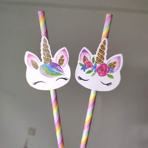 Image 5 - 20pcs Cartoon Unicorn Rainbow Paper Straws For Baby Shower Wedding Party Birthday Decoration Supplies Paper Drinking Straws