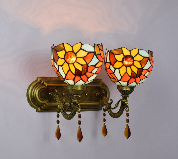 Vintage color glass crystal wall lamp bedside Restaurant bar decorative Mirror front lighting 110-240V E27 Single double headed modern lamp trophy wall lamp wall lamp bed lighting bedside wall lamp