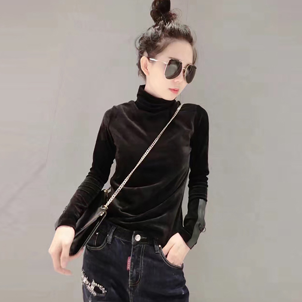 18 Woman Velvet Warm Bottoming Half Turtleneck Pullover Sweaters New Fashion Fall Korean Long Sleeve Pullover Sweater 5