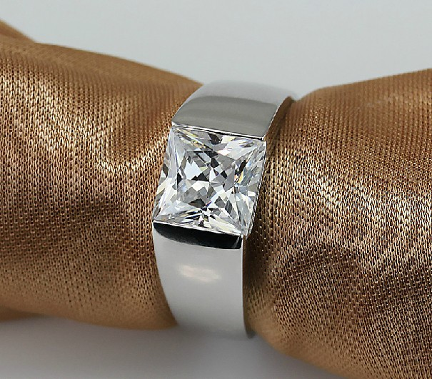 Square Brilliant Generous Men Jewelry 2Ct NSCD lovely Diamond Ring For Man Sterling Silver