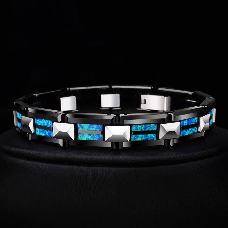 2018 новый дизайн Высокое качество 10 мм ширина браслеты из карбида, вольфрама с роскошным натуральным опалом Мужская Роскошная цепочка ювелирные изделия 20 длина