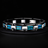 2018 New Design High Quality 10mm Width Tungsten Carbide Bracelets with Luxury Natural Opal Man's Luxury Chain Jewelry 20 Length