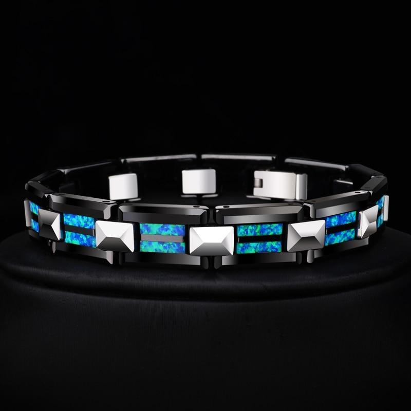 2018 Nouveau Design de Haute Qualité 10mm Largeur Carbure De Tungstène Bracelets avec De Luxe Opale Naturelle Homme Chaîne De Luxe de Bijoux 20 Longueur