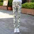 2016 New Fashion Designer High Waist Floral Print Pencil Jeans Female Slim Elastic Stretch Pants  Skinny DenimJeans For Woman