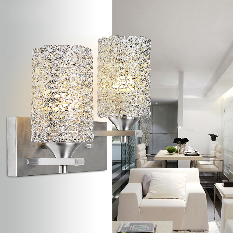 Wall Lamps Beside Bed : ?Modern Aluminume cylinder Corridor Wall ? Lamp Lamp Bedroom beside silver ? Balcony Balcony ...