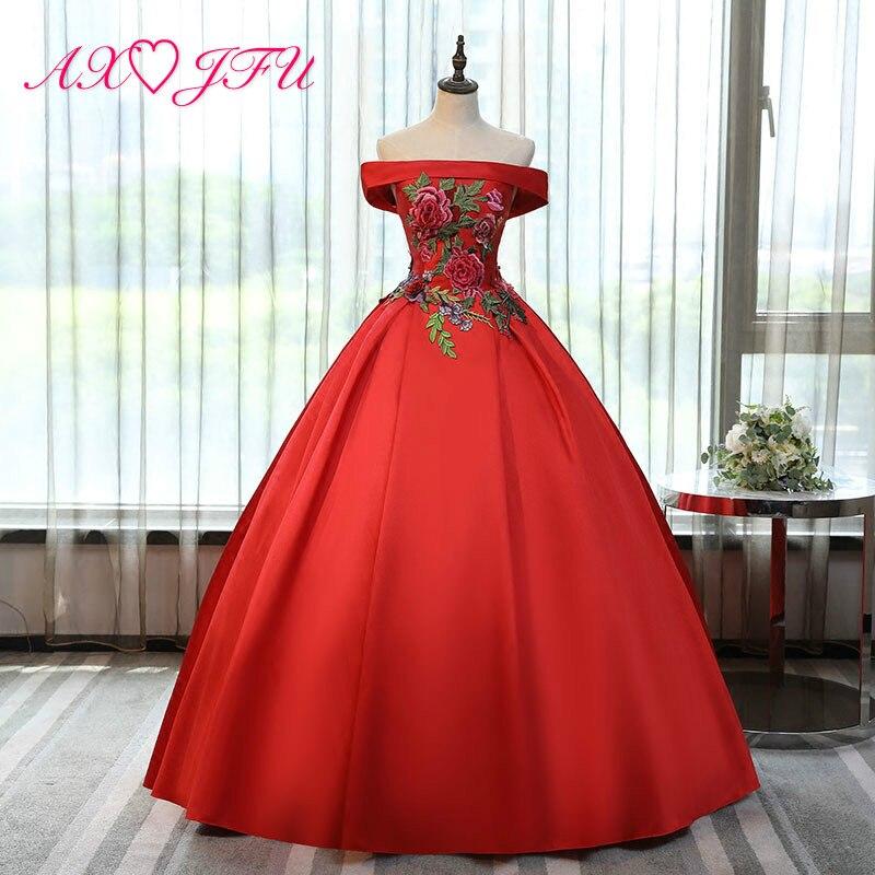 AXJFU принцесса цветок красное вечернее платье красная роза для вечернего платья с вышивкой Лодка шеи красный цветок вечернее платье NY368