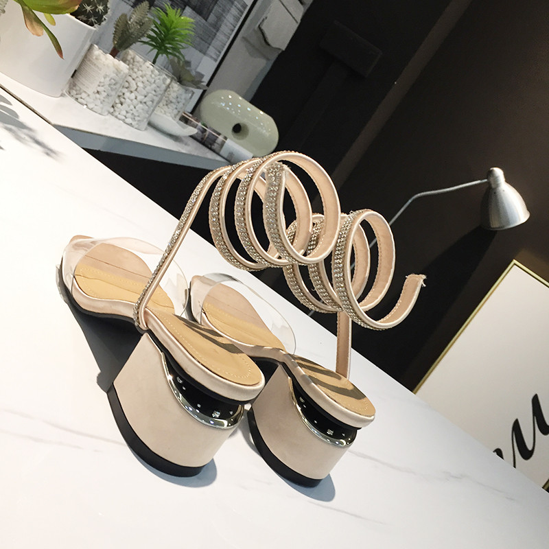 2018 Newest PVC Sandals women black nude bling bling crystal studded middle Heels summer rhinetone beach shoes zapatos mujer