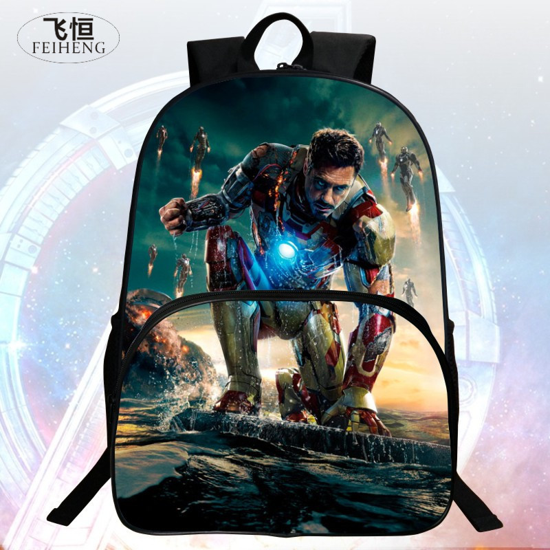 Popular New Style 16 Inch Prints Iron Man Child School Backpack Kids Backpacks Avengers Boys School Bags Students Mochila Bag