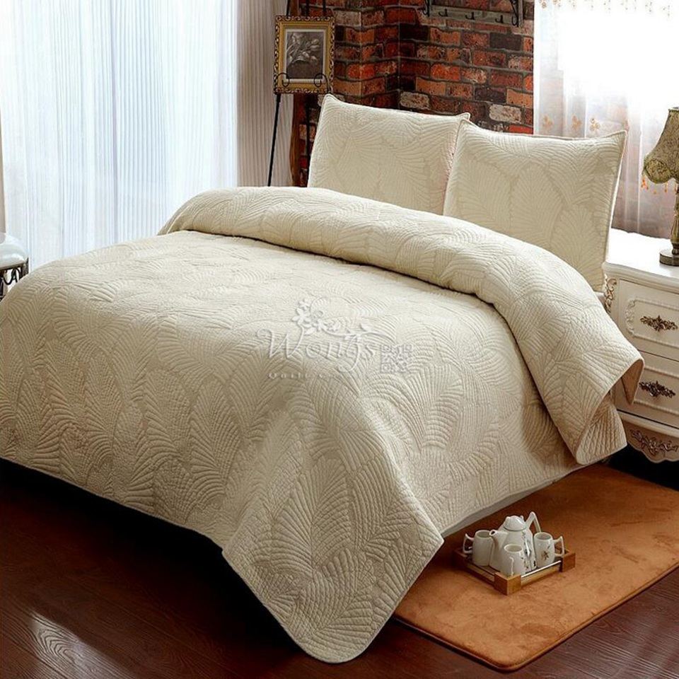 New Manual quilting 100 cotton bedding set bed cover air conditioning bedspreadbeige Patchwork
