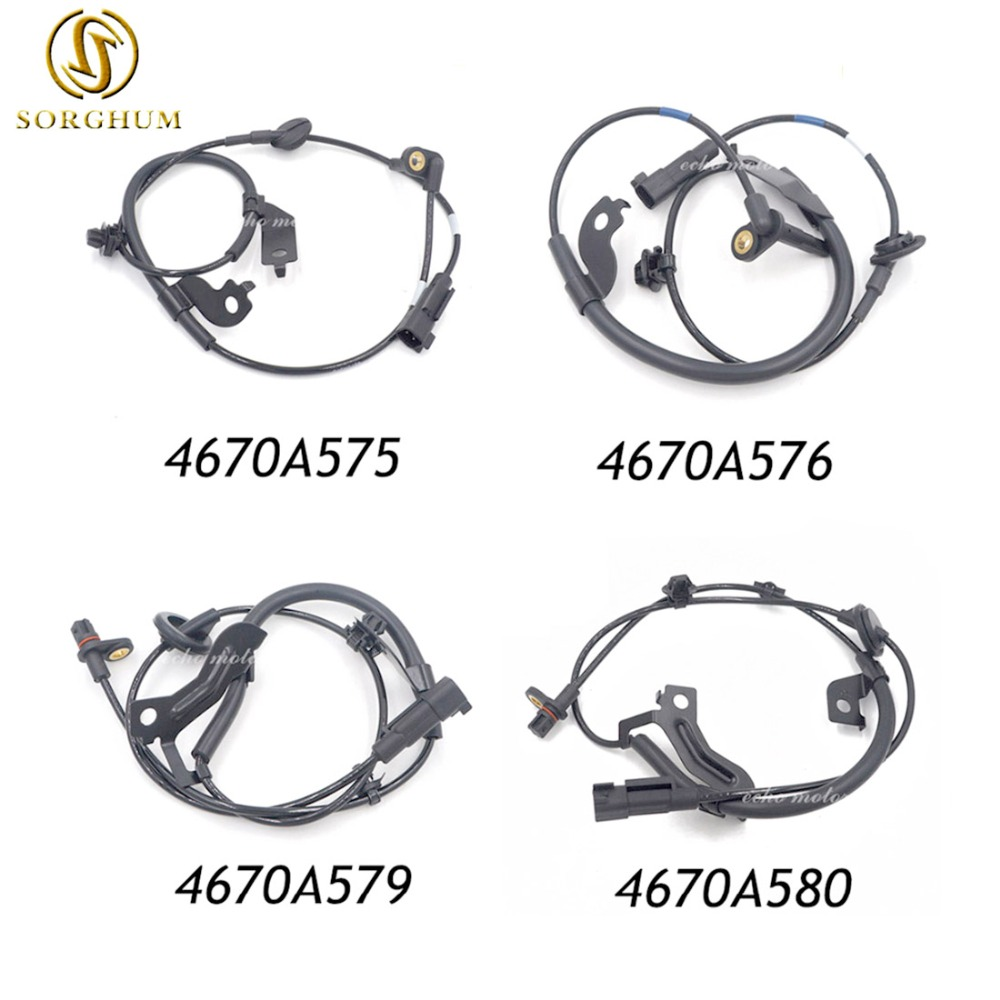 New 4pcs Front Rear ABS Wheel Speed Sensors set for Mitsubishi Lancer Outlander 4670A576 4670A575 4670A580