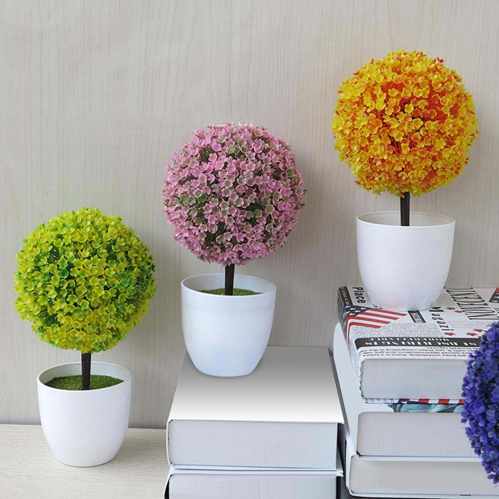 Fashion Artificial Potted Ornament Topiary Ball Shape Bonsai Fake