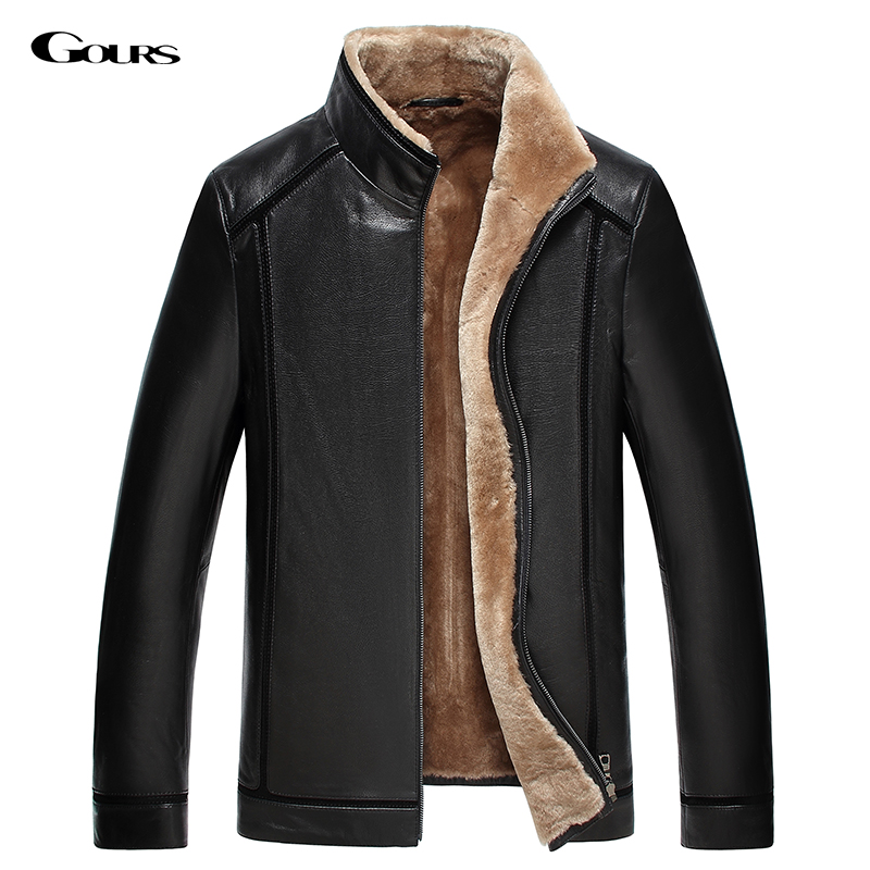 Gours Winter Men's Genuine Leather Jackets Brand Clothing Black Sheepskin Jacket and Coats with Wool Collar 2017 New Arrival 4XL