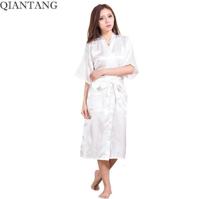 3abbe0b62 Blanco boda novia dama de honor vestir Robe Faux seda Albornoz mujeres  Kimono vestido del baño