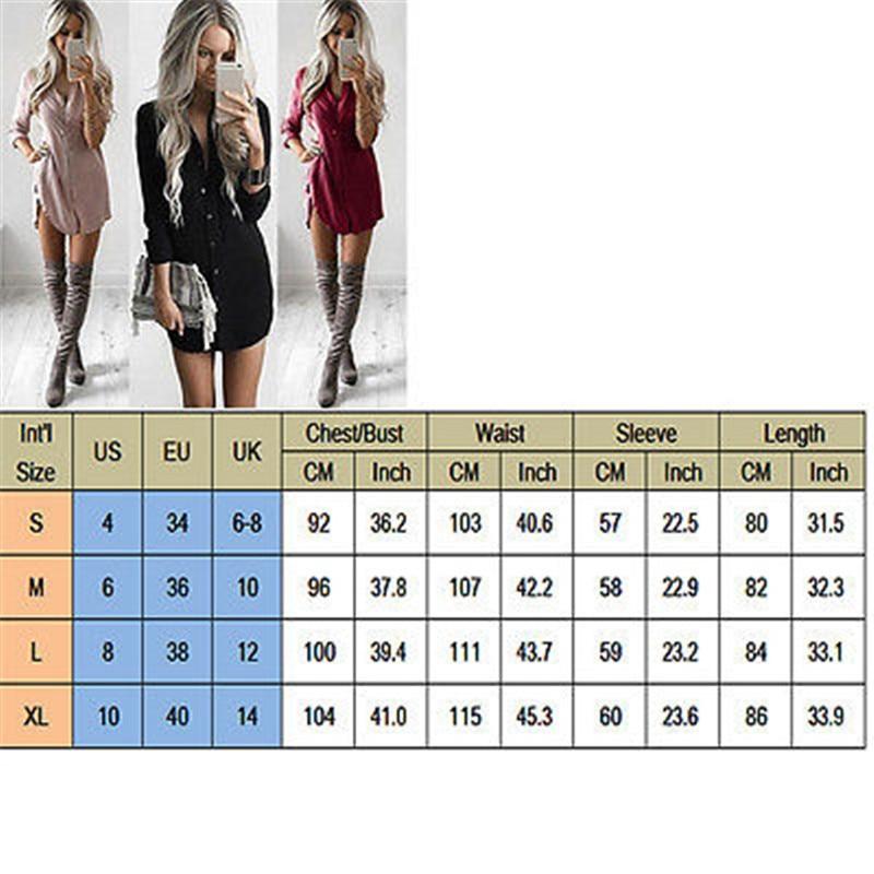94e8d84cec15 S XL Senhora do Escritório das Mulheres Camisa de Manga Longa Casual  Vestidos Moda Outono Tops Completo Manga Sólidos a Granel Mini Vestido  Curto vestido de ...