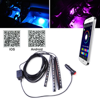 DWCX Car Interior Colorful 12 LED Footwell Floor Neon Flexible Atmosphere Light Strip Phone App Music