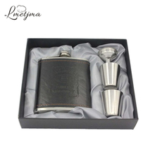 LMETJMA 7oz Luxury Stainless Steel Leather Hip Flask Personalized Whiskey Jagermeister Flask Drink Mug with a Box K0046