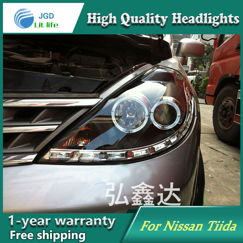 high quality Car styling case for Nissan Tiida headlights 2008-2010 Tiida Headlights LED Headlight DRL Lens Double Beam HID akd car styling for nissan teana led headlights 2008 2012 altima led headlight led drl bi xenon lens high low beam parking