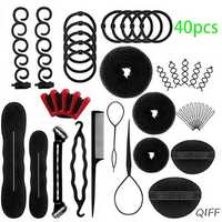 40Pcs/Set Women DIY Hair Styling Accessories Kit Magic Donut Bun Maker Hairpins Ties Fast Twist Modelling Hairdress Braid Tools
