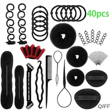 40Pcs/Set Women DIY Hair Styling Accessories Kit Magic Donut Bun Maker Hairpins