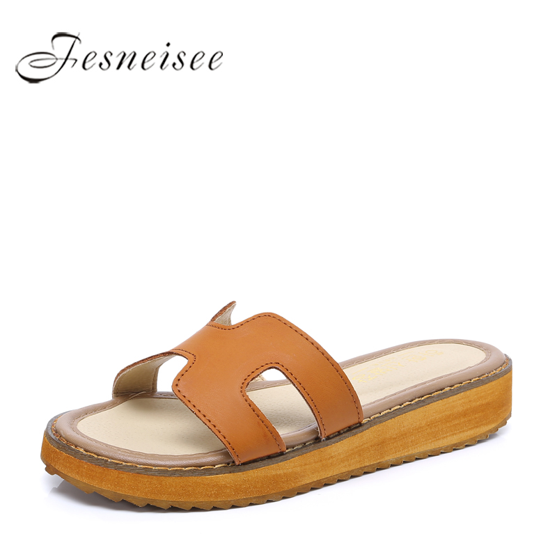 FESNEISEE Slippers women luxury brand designer slippers genuine cow really leather lady shoes H flats Sandals Plus Size34-43 6