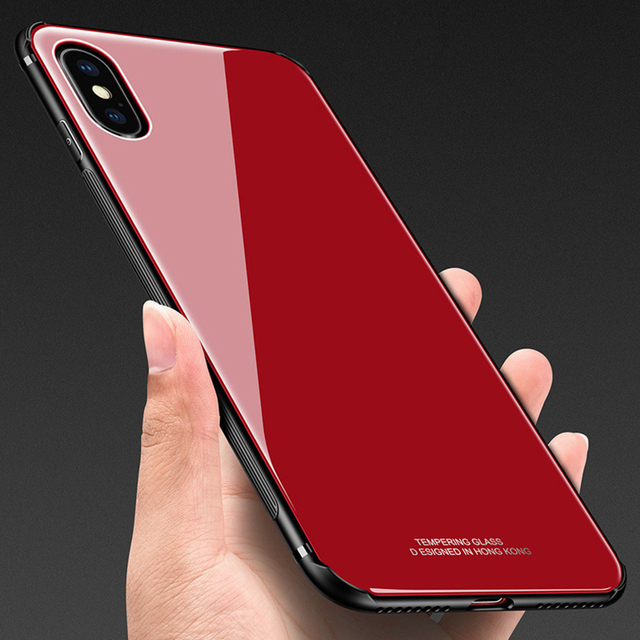 4763ccb395d Luxury Glass Case for Apple iPhone 7 X 8 6 6S Plus Cases Anti-knock Smooth  Glass Silicone Frame Case for Samsung S8 S8+ Note 8