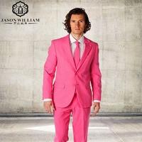 LN105 Yeni Varış Groomsmen Notch yaka Damat Smokin Hot Pink Erkek Düğün İyi Adam Suits (Ceket + Pantolon + kravat)