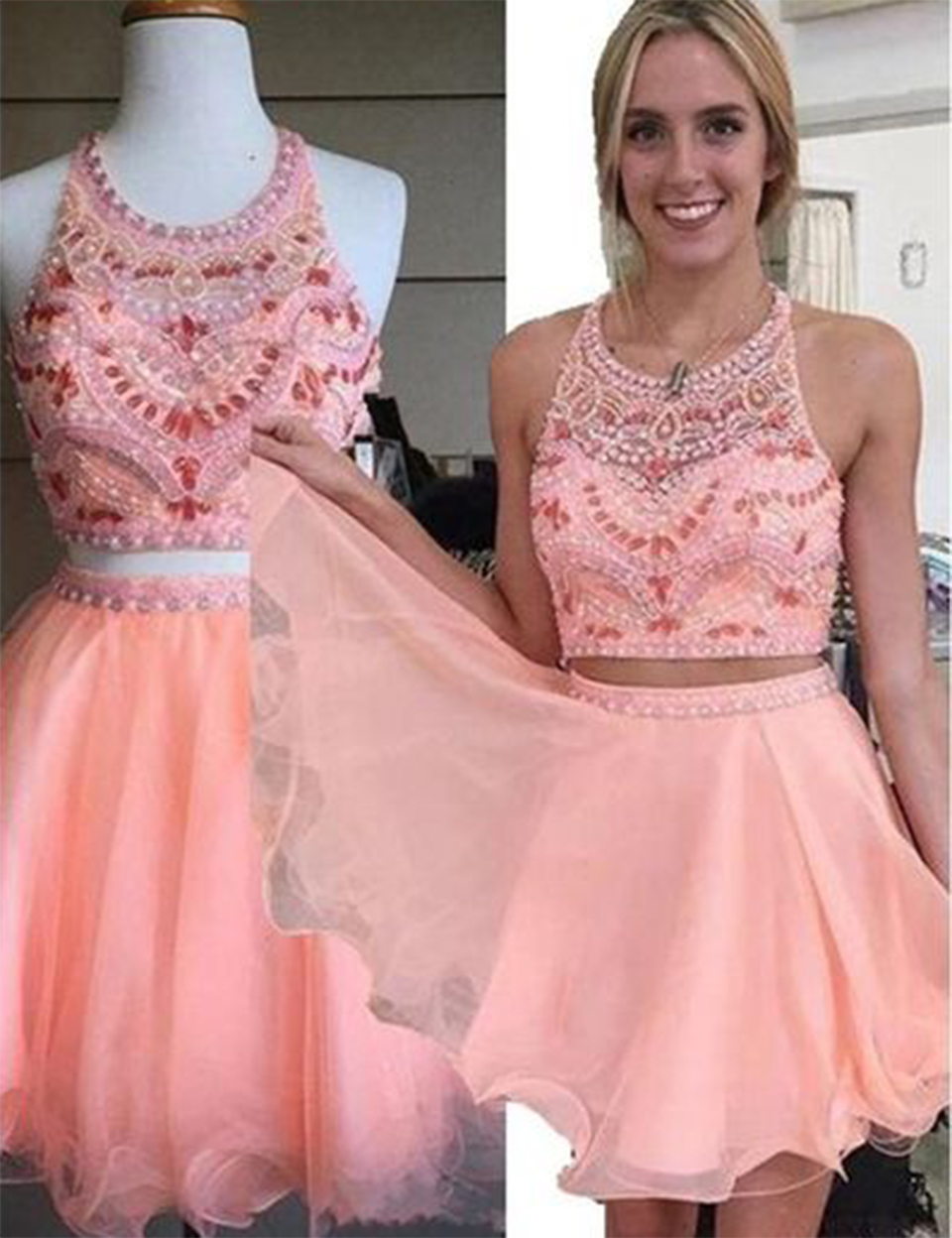 Two Piece Prom Dress Cute Prom Gowns