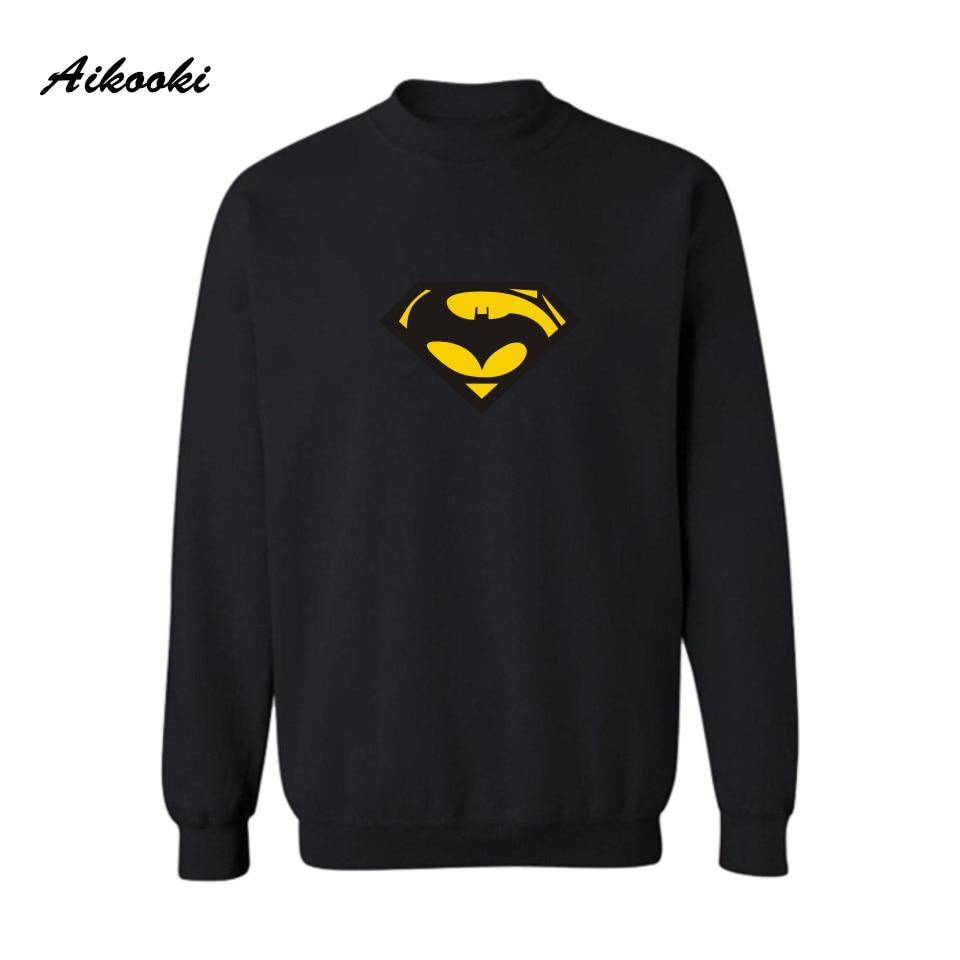 Aikooki Superman VS Batman Black Harajuku Sweatshirt Super Saiyan Mens Autumn Winter Harajuku Outerwear Couples Clothing Women