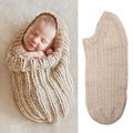 Newborn Photography Props Beige Baby Swaddle Sack Handmade Crochet Photo Props Baby Cocoon Sleeping Bag