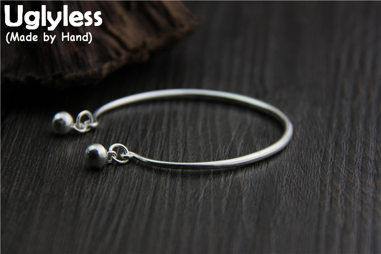 Uglyless Real S 999 Silver Women Fine Jewelry Simple Fashion Ethnic Bells Charm Bangles Women Balls Tassel Bangle Opening BijouxUglyless Real S 999 Silver Women Fine Jewelry Simple Fashion Ethnic Bells Charm Bangles Women Balls Tassel Bangle Opening Bijoux