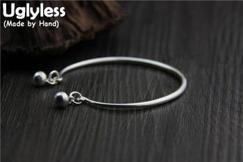 Uglyless Real S 999 Silver Women Fine Jewelry Simple Fashion Ethnic Bells Charm Bangles Women Balls Tassel Bangle Opening Bijoux