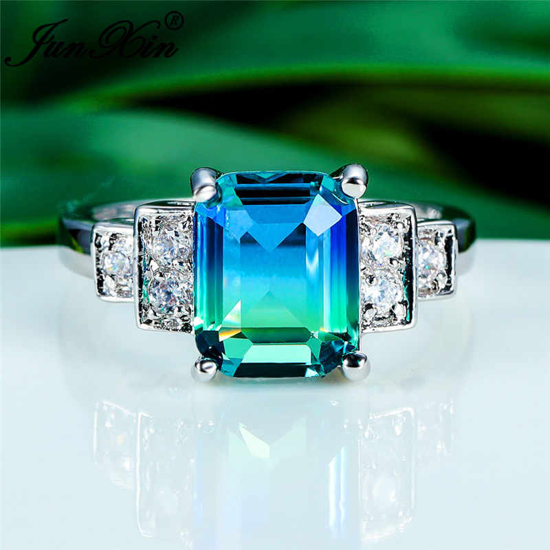 Mystic Blue Green Stone Rectangle Rings For Women Gradient Crystal Wedding Bands Unique Promise Engagement Ring Rainbow Jewelry