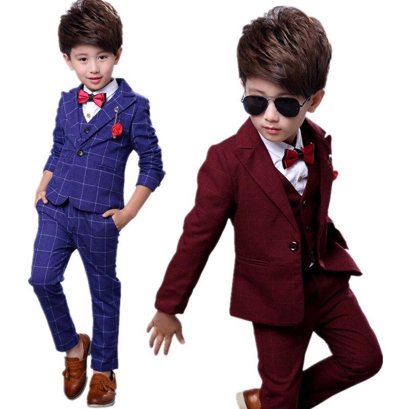 Automne hiver nouvelle mode coréen garçon plaid manteau + gilet + pantalon trois pièces costume garçon costume usine directe beau cadeau d'anniversaire 18M03