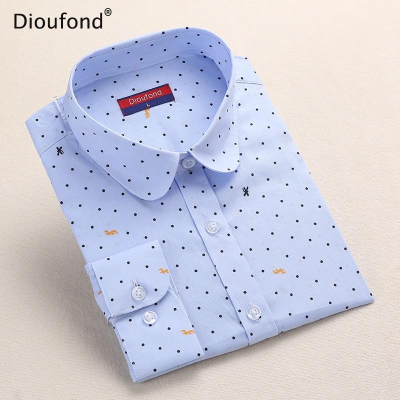 Dioufond Polka Dot Printed   Blouse     Shirt   Women Long Sleeve Cotton Work Wear   Blouses   White Print Blusa Feminina Navy Top 2017