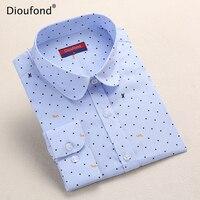 Dioufond Polka Dot Printed Blouse Shirt Women Long Sleeve Cotton Work Wear Blouses White Print Blusa