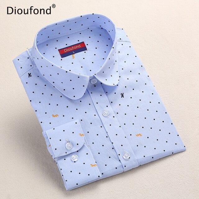 Dioufond горошек блузка, кофта с принтом для женщин с длинным рукавом хлопок Повседневная обувь блузки для малышек белый печати Blusa Feminina темно Топ 2017
