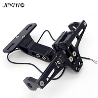 CNC Motorcycle License Plate Holder Moto Rear Tidy Bracket With Led Lamp For t max 500 pcx xmax 125 yamaha