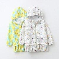 801596 jas 18 jaar lente nieuwe han editie meisjes bloemen lemon rits zwarte schimmel in cap rand trenchcoat