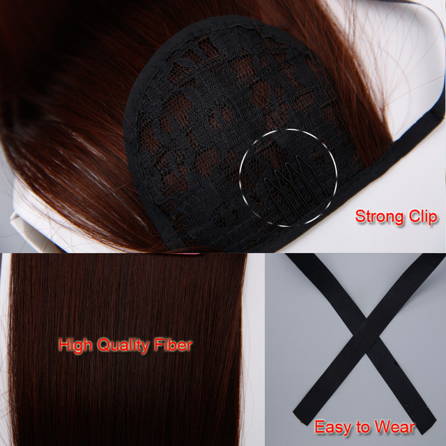 SHANGKE Short Curly Ponytails Clip In Fake Hair Extensions Natual Clip In Hair Tails Heat Resistant Synthetic Ponytail 6
