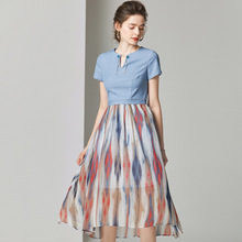 Midi Dress Summer Women 2019 New Fashion Half Opened Round Neck Short Sleeved Patchwork Printed Slim A-Line Elegant Dress S-XL lace dress women elegant 2019 spring summer new stripes printed round neck three quarter sleeved slim a line midi dress s xxl