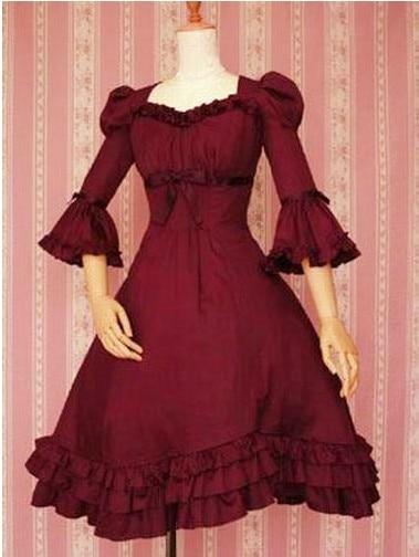 Gothic  Ruffleds  Cotton Lolita Dress